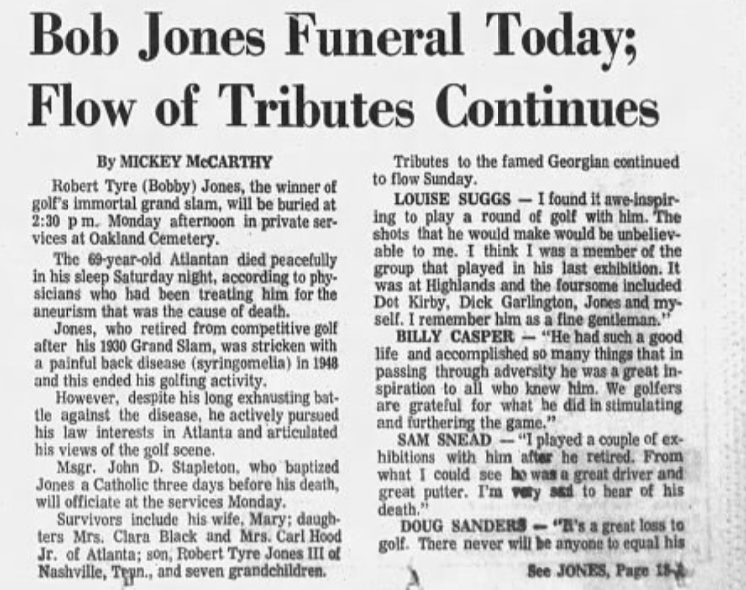 Bobby Jones dies at age 69. He is laid to rest at Oakland Cemetery.